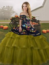 Off The Shoulder Sleeveless Tulle 15 Quinceanera Dress Embroidery and Ruffled Layers Brush Train Lace Up