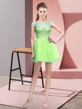 Shining Yellow Green Zipper Prom Party Dress Beading Sleeveless Mini Length