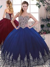 Luxurious Sleeveless Floor Length Beading and Embroidery Lace Up Quinceanera Dress with Royal Blue