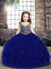 Affordable Royal Blue Straps Lace Up Beading and Ruffles Little Girls Pageant Gowns Sleeveless