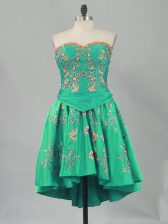 Turquoise Lace Up Sweetheart Embroidery Homecoming Dress Sleeveless