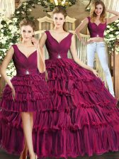 Extravagant Burgundy Ball Gowns Ruffled Layers Quinceanera Dress Backless Organza Sleeveless Floor Length