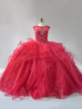 Glamorous Wine Red Sleeveless Organza Brush Train Lace Up Quinceanera Gown for Sweet 16 and Quinceanera