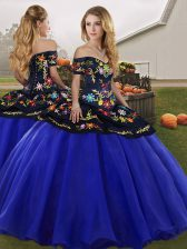Royal Blue Quinceanera Dress Military Ball and Sweet 16 and Quinceanera with Embroidery Off The Shoulder Sleeveless Lace Up