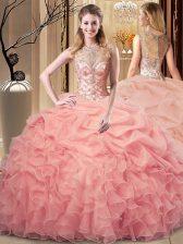 Customized Sleeveless Zipper Floor Length Beading and Ruffles Sweet 16 Dress