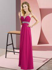 Sleeveless Floor Length Beading Criss Cross Prom Evening Gown with Fuchsia