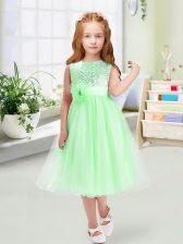 Exceptional Empire Sequins and Hand Made Flower Toddler Flower Girl Dress Zipper Organza Sleeveless Tea Length