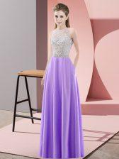 Ideal Beading Lavender Backless Sleeveless Floor Length