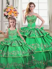 Ruffled Layers Quinceanera Gown Green Lace Up Sleeveless Floor Length