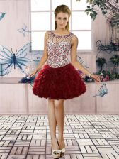 Trendy Burgundy Sleeveless Organza Lace Up Evening Dress for Prom and Party