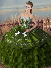 Dramatic Olive Green Ball Gowns Sweetheart Sleeveless Satin Floor Length Lace Up Embroidery and Ruffles Sweet 16 Quinceanera Dress