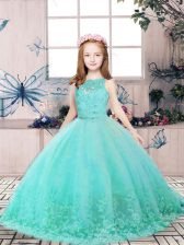 Floor Length Aqua Blue Little Girls Pageant Gowns Tulle Sleeveless Lace and Appliques