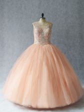 Extravagant Tulle Sleeveless Floor Length Quinceanera Gowns and Beading