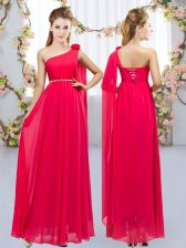 Romantic Red Sleeveless Beading and Hand Made Flower Floor Length Court Dresses for Sweet 16