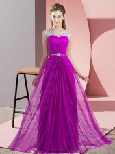 Purple Empire Chiffon Scoop Sleeveless Beading Floor Length Lace Up Dama Dress for Quinceanera