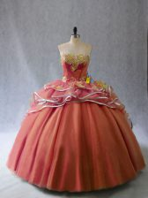 Classical Sweetheart Sleeveless Tulle 15 Quinceanera Dress Appliques and Ruffles Brush Train Lace Up