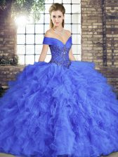 Floor Length Lace Up Sweet 16 Quinceanera Dress Blue for Military Ball and Sweet 16 and Quinceanera with Beading and Ruffles