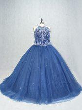 Navy Blue Sleeveless Brush Train Beading Sweet 16 Quinceanera Dress