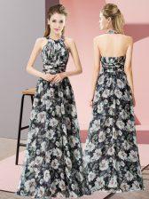 Smart Multi-color Empire Halter Top Sleeveless Chiffon Floor Length Zipper Beading Homecoming Dress