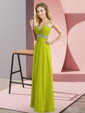 Artistic Empire Olive Green Straps Chiffon Sleeveless Floor Length Criss Cross