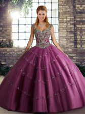 Best Sleeveless Beading and Appliques Lace Up Quince Ball Gowns