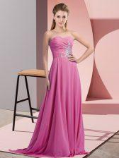 Lilac Empire Beading Prom Dresses Lace Up Chiffon Sleeveless