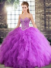 Suitable Lavender Lace Up Sweet 16 Quinceanera Dress Beading and Ruffles Sleeveless Floor Length