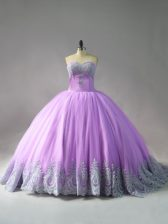 Discount Lilac Tulle Lace Up Quinceanera Gown Sleeveless Court Train Appliques