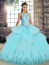 Scoop Sleeveless Tulle Ball Gown Prom Dress Lace and Embroidery and Ruffles Lace Up