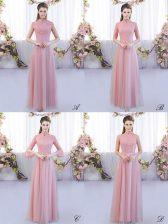 Pink High-neck Neckline Lace Quinceanera Court of Honor Dress Cap Sleeves Zipper