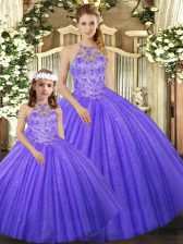 Captivating Lavender Tulle Lace Up Ball Gown Prom Dress Sleeveless Floor Length Beading