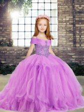 Most Popular Lilac Ball Gowns Straps Sleeveless Tulle Floor Length Side Zipper Beading Girls Pageant Dresses