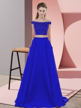 Cheap Blue Elastic Woven Satin Backless Off The Shoulder Sleeveless Dress for Prom Sweep Train Beading