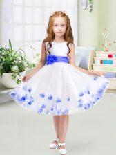 White Sleeveless Tulle Zipper Flower Girl Dress for Wedding Party