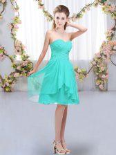 Knee Length Turquoise Dama Dress Sweetheart Sleeveless Lace Up