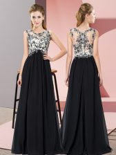 Classical Scoop Sleeveless Zipper Court Dresses for Sweet 16 Black Chiffon