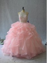 Dramatic Peach Two Pieces Halter Top Sleeveless Organza Backless Beading and Ruffles Sweet 16 Dress