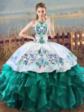 Elegant Floor Length Turquoise Ball Gown Prom Dress Organza Sleeveless Embroidery and Ruffles