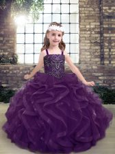 Wonderful Sleeveless Beading and Ruffles Lace Up Girls Pageant Dresses