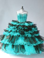 Luxurious Ball Gowns Quinceanera Dress Blue And Black Sweetheart Organza Sleeveless Floor Length Lace Up