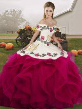Embroidery and Ruffles Sweet 16 Dress Fuchsia Lace Up Sleeveless Floor Length