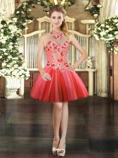 Excellent Coral Red Ball Gowns Tulle Halter Top Sleeveless Embroidery Mini Length Lace Up Prom Dress