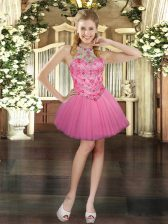 Pink Tulle Lace Up Prom Gown Sleeveless Mini Length Beading
