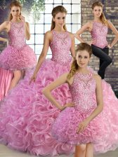 Rose Pink Fabric With Rolling Flowers Lace Up Sweet 16 Quinceanera Dress Sleeveless Floor Length Beading