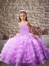 Lavender Ball Gowns Organza Straps Sleeveless Beading and Ruffled Layers Lace Up Kids Formal Wear Brush Train