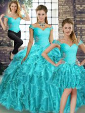 Decent Sleeveless Beading and Ruffles Lace Up Sweet 16 Quinceanera Dress with Aqua Blue Brush Train