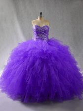 Custom Design Sweetheart Sleeveless Quince Ball Gowns Floor Length Beading and Ruffles Purple Tulle