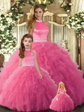 Amazing Halter Top Sleeveless Backless 15th Birthday Dress Hot Pink Tulle