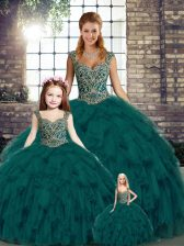 Floor Length Lace Up Sweet 16 Dresses Peacock Green for Military Ball and Sweet 16 and Quinceanera with Beading and Ruffles