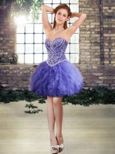 Lavender Tulle Lace Up Prom Evening Gown Sleeveless Mini Length Beading and Ruffles